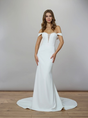 Liancarlo Spring 2020 bridal collection wedding dress matte crepe gown off shoulder straps sheath v