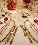 Wedding reception gold edge charger with burnt orange