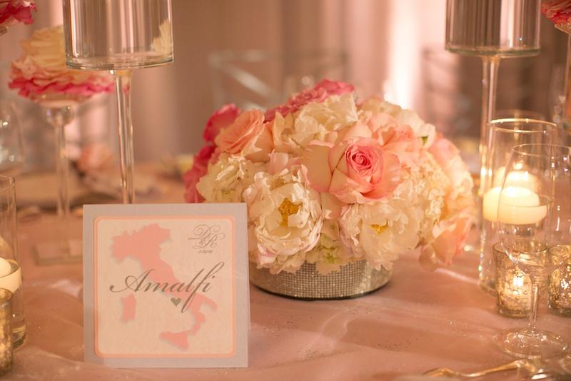 Amalfi wedding table name with map of Italy