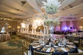 reception space navy gold white accents north carolina wedding ballroom traditional winter glamorous