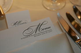 Wedding reception menu in white napkin