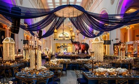 opulent reception space concept in blue gold and purple in chicago museum