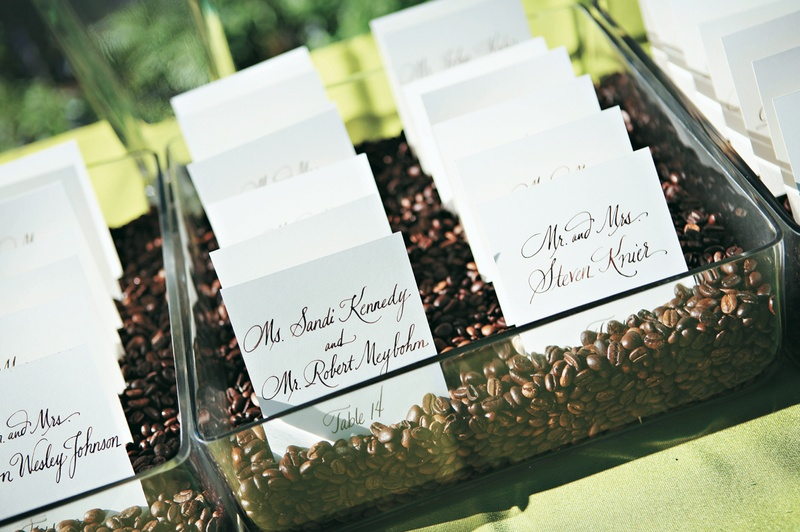Coffee bean seating card display
