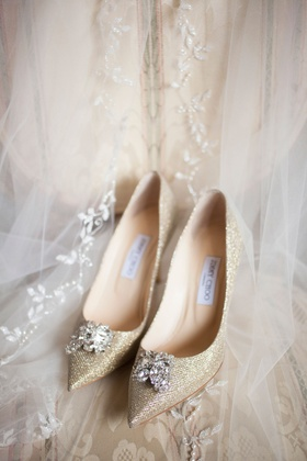 Jimmy Choo gold sparkle pumps pointed toe crystal toe detail embellishments