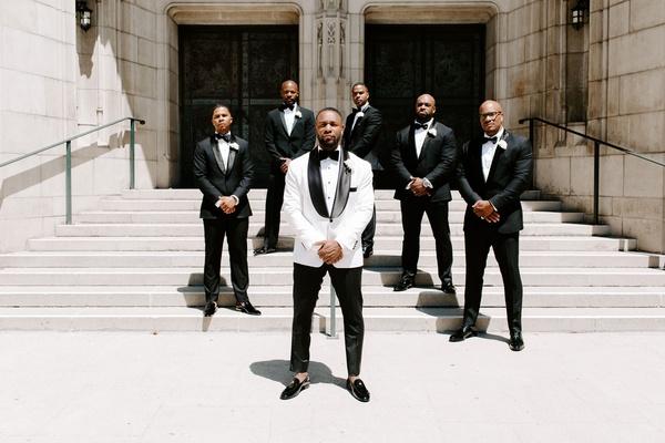 r&b singer Tank with groomsmen, jamie foxx and j. valentine, groom in white jacket
