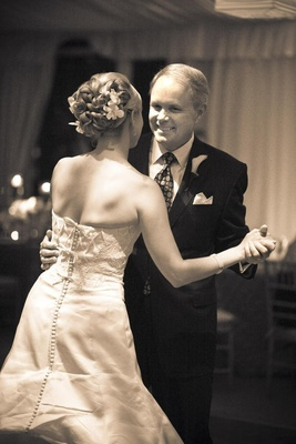 Black and white photo of father daughter dance