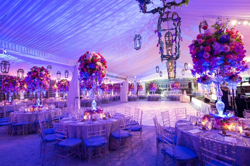 Reception Décor Photos - Purple & Pink Reception Lighting - Inside ...