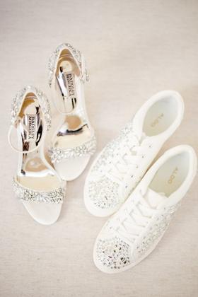 badgley mischka with crystal details, aldo sneakers with crystal details