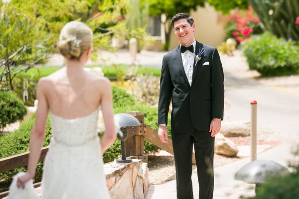 bride and groom do first look with each other in arizona