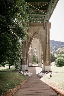 outdoor park ceremony underneath bridge cathedral park portland oregon wedding steps simple rustic