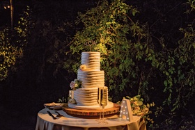 wedding cake three layer round design champagne marquee letter outdoor wedding reception