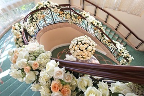 Beverly Hills Hotel stairs entwined with flowers