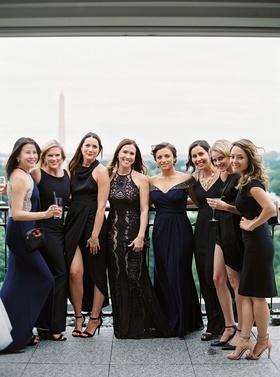 Wedding guests in high neck slit off shoulder short long guest dresses holding drinks