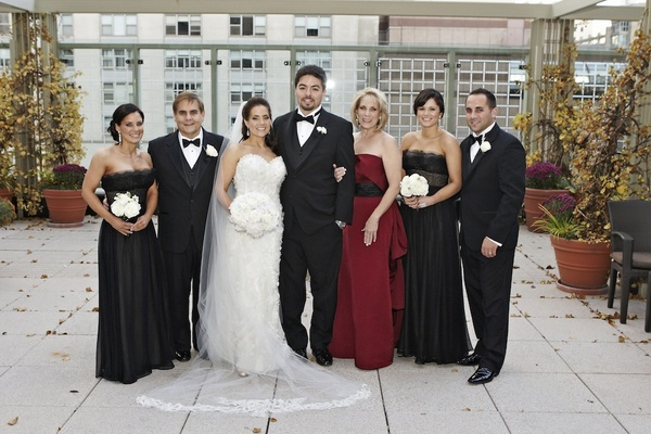 Bride and groom with Shannon's family members