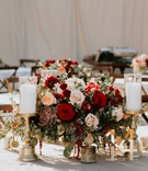 wedding reception low centerpiece table with gold acrylic table number candlestick succulent blush