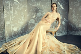 Romona Keveza Collection Bridal gold thread organza fluted mermaid gown with sculpted neckline