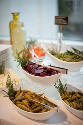Pickle and beet station at charcuterie wedding display