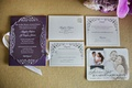 Lucite wedding invitation, couple photo on save the date, and purple envelope