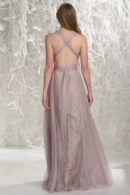 Wtoo Bridesmaids 2016 back of long bridesmaid dress with criss cross straps in back