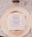 Rose gold charger plate with printed thank you note