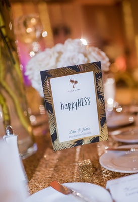 wedding hashtag ideas, clever table numbers, gold palm fronds