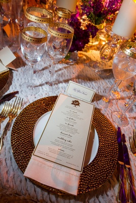 Gold-rimmed charger and glassware on table