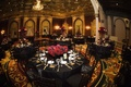 Wedding reception with black and red decor at the Gold Room of the Millennium Biltmore Hotel