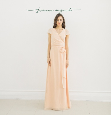 Joanna August 2016  peach cap sleeve v-neck bridesmaid dress with tie in chiffon