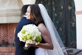 Priscilla of Boston veil and two-toned bouquet
