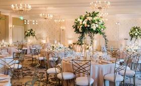 wedding reception ballroom wallpaper chandeliers crisscross chairs tall centerpiece greenery pink