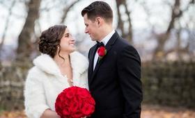 san francisco giants joe panik wedding, joe panik's wife brittany, bride in fur shrug winter wedding
