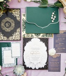 wedding invitation suite oda creative green envelope purple envelope gold laser cut details