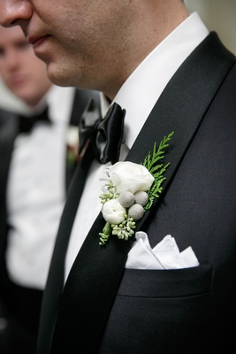 wedding style groom boutonniere white flower silver brunia berries evergreen details pocket square