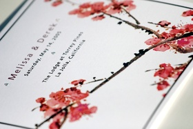 Wedding invitations with Chinese cherry blossom design