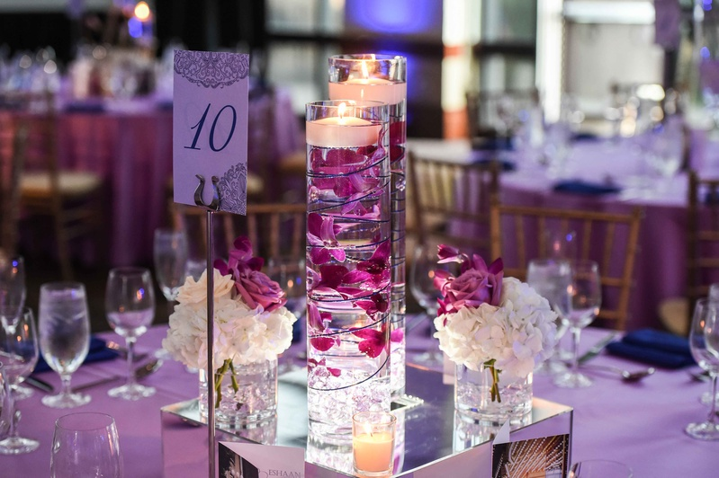 Reception Décor Photos - Floating Candle Centerpieces with Orchids ...