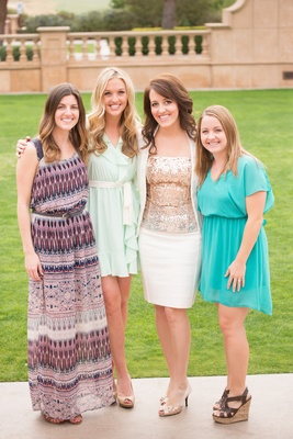 Bride-to-be in white suit, gold sequined blouse & guests bridal shower at The Grand Del Mar