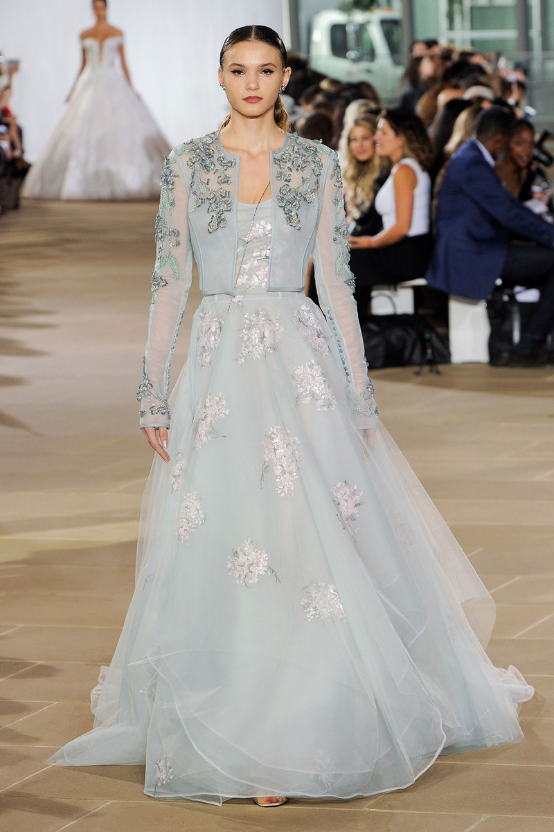 Ines Di Santo fall 2019 bridal collection wedding dress Emeline pale blue hand-painted a-line bolero