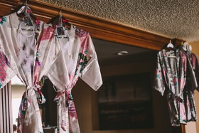 wedding day getting ready floral robes with dream catchers, native american bride
