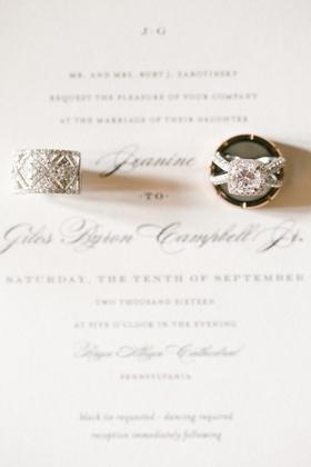 large women's wedding band, cushion cut diamond ring in halo criss cross setting
