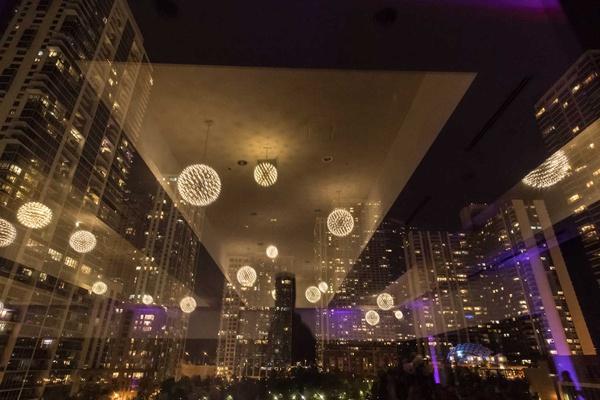 wedding reception ballroom reception floor to ceiling windows chicago skyline downtown