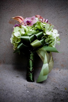 Bouquet with hydrangea, orchid, and calla lily flowers