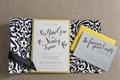 Black velvet damask wedding invite with yellow accents
