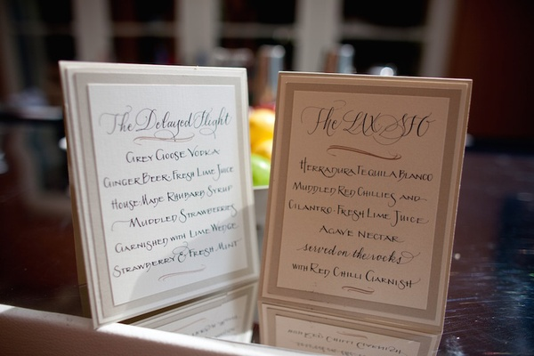 Drink menus with border frame and modern calligraphy