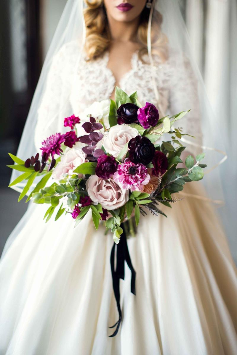 Bouquets Photos - Shades of Purple, Cream Bridal Bouquet - Inside ...