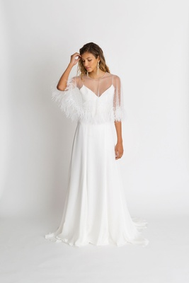 "Alexandra Grecco fall winter 2018 ""The Magic Hour"" wedding dress Ruelle v neck sheath with Wren cape"