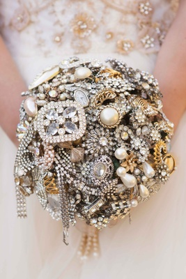Jewel jeweled wedding bouquet with brooches, pins, family heirlooms, and antique jewelry pieces