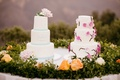 two wedding cakes, simple wedding cake, floral wedding cake,