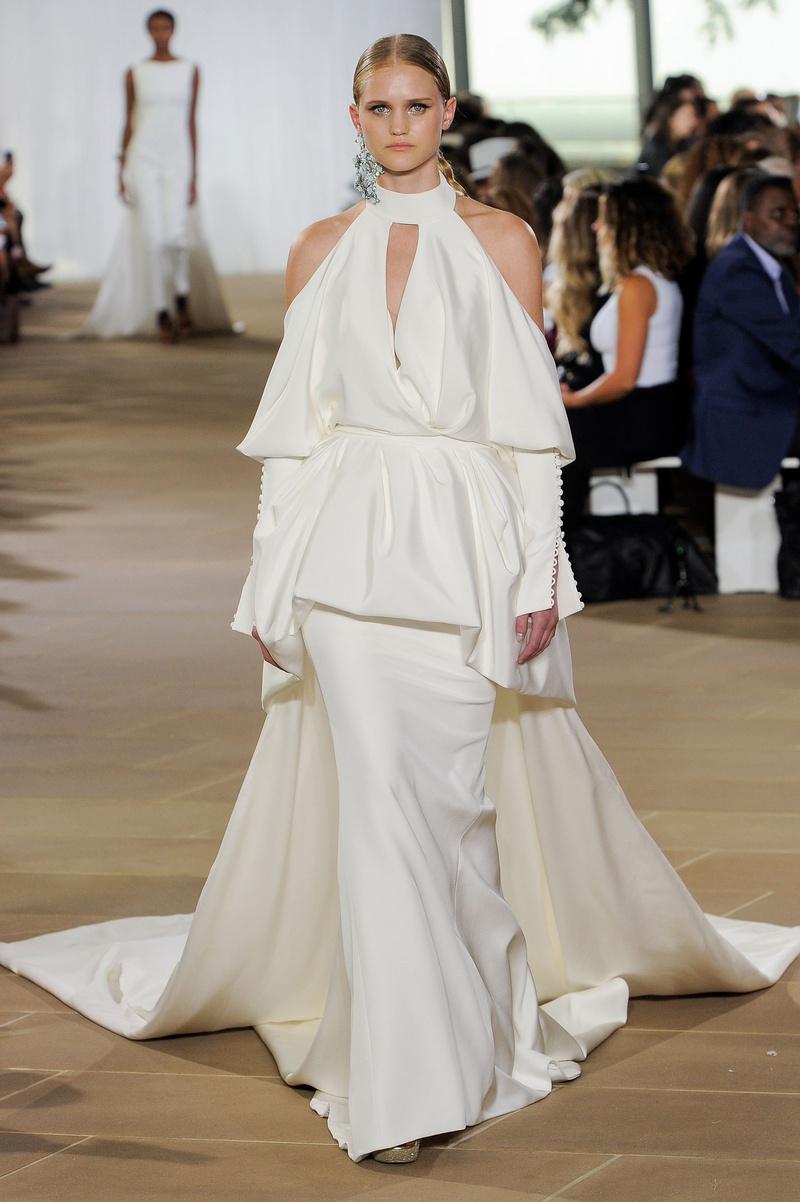 Ines Di Santo fall 2019 bridal collection wedding dress Lark cold shoulder peplum jacket halter