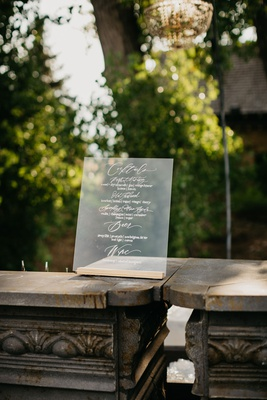 wedding reception clear lucite acrylic cocktail menu calligraphy cocktails old fashioned beer wine