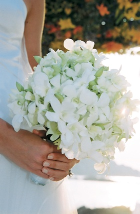 Fresh floral bouquet in white and green